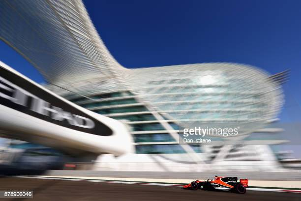 Fernando Alonso of Spain driving the McLaren Honda Formula 1 Team McLaren MCL32 on track during final practice for the Abu Dhabi Formula One Grand...