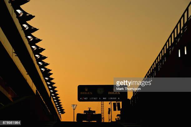 Fernando Alonso of Spain driving the McLaren Honda Formula 1 Team McLaren MCL32 in the Pitlane during qualifying for the Abu Dhabi Formula One Grand...