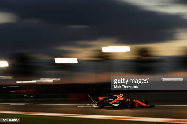 Fernando Alonso of Spain driving the McLaren Honda Formula 1 Team McLaren MCL32 on track during the Abu Dhabi Formula One Grand Prix at Yas Marina...