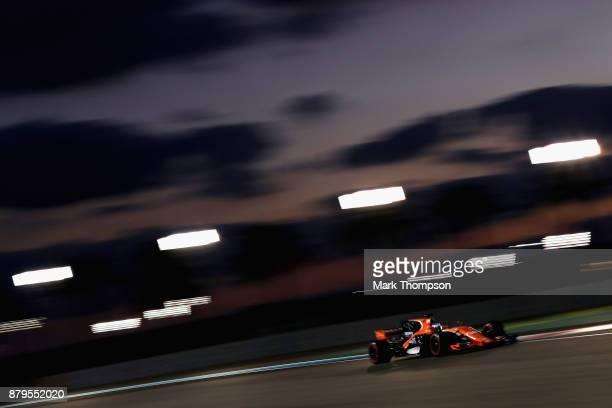 Fernando Alonso of Spain driving the McLaren Honda Formula 1 Team McLaren MCL32 on track during the Abu Dhabi Formula One Grand Prix at Yas Marina...