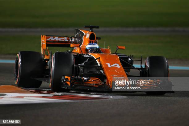 Fernando Alonso of Spain driving the McLaren Honda Formula 1 Team McLaren MCL32 during the Abu Dhabi Formula One Grand Prix