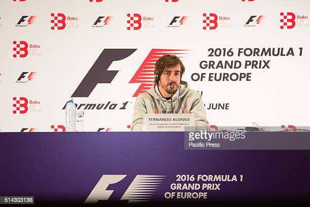 Fernando Alonso of Spain gives an interview before the F1 Grand Prix of Baku Baku is scheduled to host the inaugural Formula One Grand Prix of Europe...