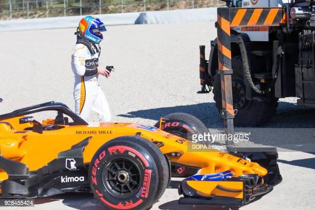 CIRCUIT MONTMELO CATALONIA SPAIN Fernando Alonso of Team McLarenHonda McLaren MCL33 seen after his car's motor broke during F1 Winter Test Days