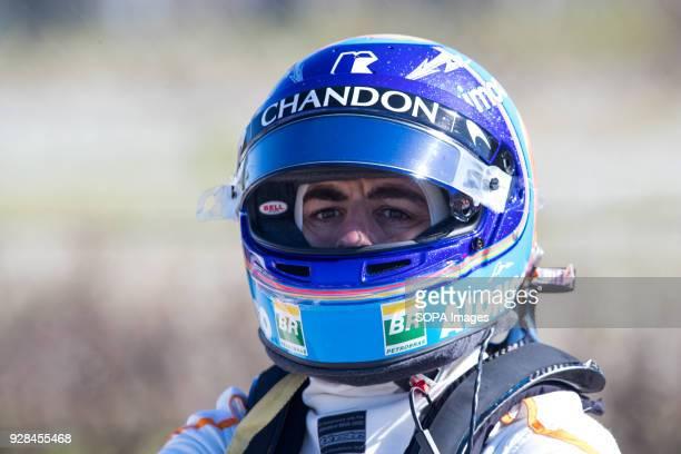 Fernando Alonso of Team McLaren-Honda, McLaren MCL33, seen after his car's motor broke during F1 Winter Test Days.