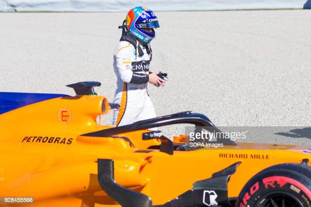 CIRCUIT MONTMELO CATALONIA SPAIN Fernando Alonso of Team McLarenHonda McLaren MCL33 seen after his car's motor broke during F1 Winter Test Days