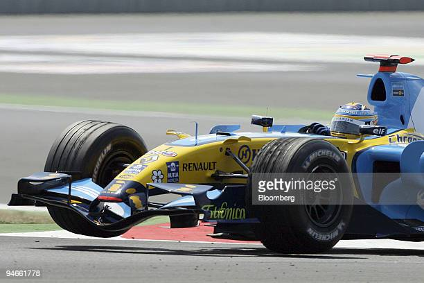 Fernando Alonso of Team Renault is seen during the first practice day for the Formula 1 GP of France in Magney Cours France Friday July 14 2006