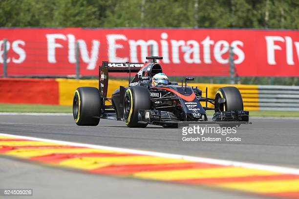 Fernando Alonso of the Mclaren Honda Team during the 2015 Formula 1 Shell Belgian Grand Prix free practice 2 at Circuit de SpaFrancorchamps in...