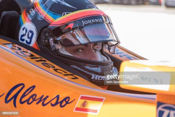 Fernando Alonso on the second day of qualifications for the 101st Indianapolis on May 21 at the Indianapolis Motor Speedway in Indianapolis Indiana