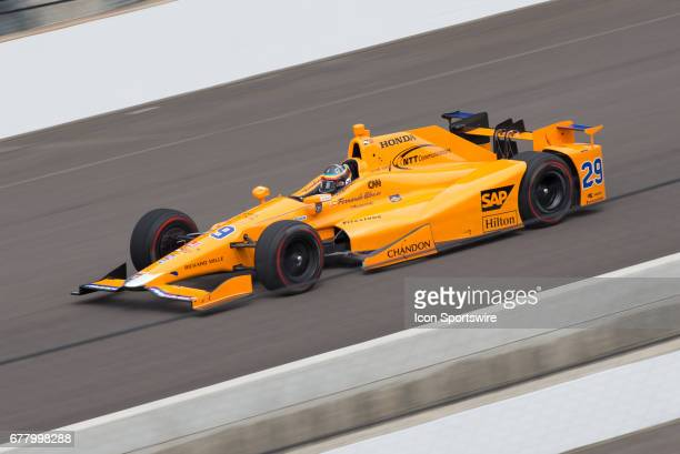 Fernando Alonso on track at speed during his first test on May 03 at the Indianapolis Motor Speedway in Speedway Indiana