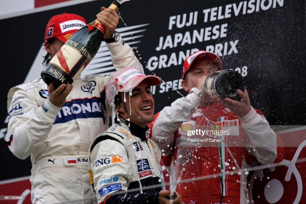Fernando Alonso, Robert Kubica, Kimi Raikkonen, Grand Prix Of Japan : News Photo