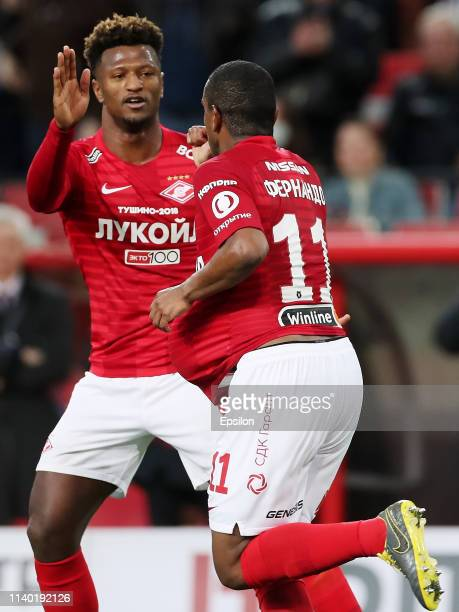 Fernando and Ze Luis of FC Spartak Moscow celebrate a goal during the Russian Premier League match between FC Spartak Moscow and FC Rubin Kazan on...