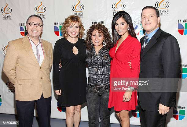 Fernando Arau Ana Maria Canceco Isabela Karla Martinez and Raul Gonzalez poses at Univision Studios during the announcement of the nominees for the...