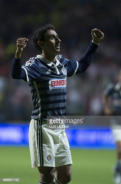 Fernando Arce of Guadalajara celebrates his goal against Toluca during their Mexican Apertura tournament football match at the Nemesio Diez stadium...