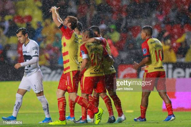 Fernando Aristeguieta of Morelia celebrates after scoring the first goal of his team during the 6th round match between Morelia and Pumas UNAM as...