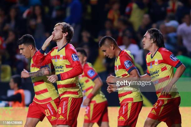 Fernando Aristeguieta of Morelia celebrates after scoring the third goal of his team during the 18th round match between Morelia and Puebla as part...