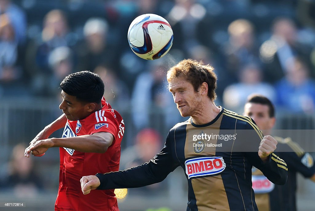 Fernando Aristeguieta #18 of Philadelphia Union heads the ball past Moises Hernandez #3 of FC Dallas at PPL Park on March 21, 2015 in Chester, Pennsylvania.