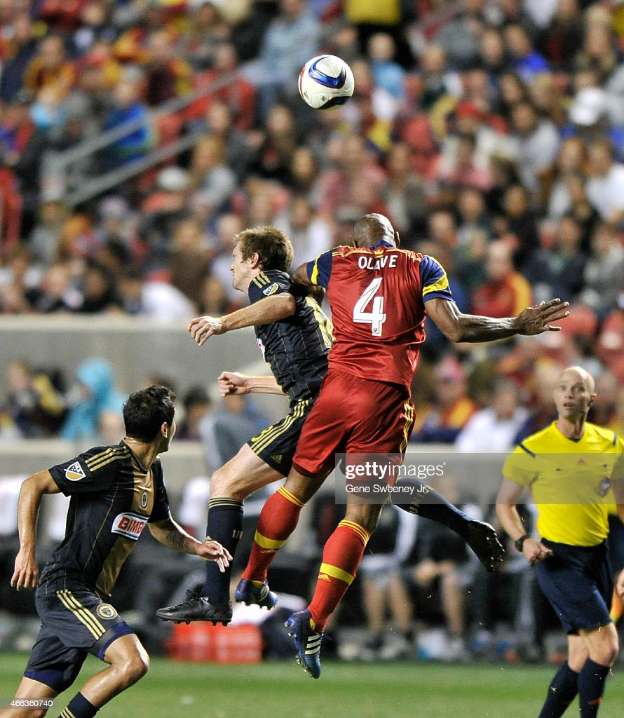 Fernando Aristeguieta of the Philadelphia Union and Jamison Olave #4 of Real Salt Lake try to head the ball during the second half of their 3-3 tie at Rio Tinto Stadium on March 14, 2015 in Sandy, Utah.