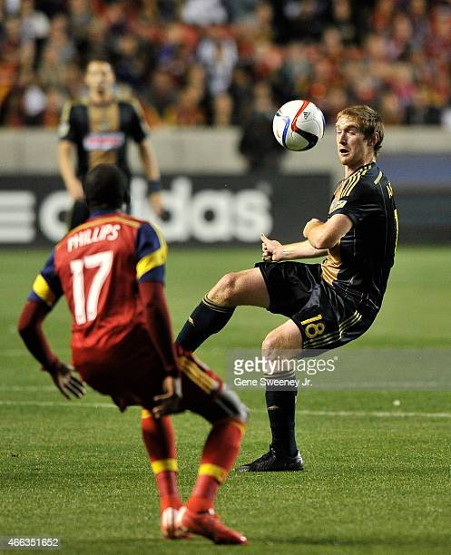 Fernando Aristeguieta of the Philadelphia Union directs the ball away from Demar Phillips of Real Salt Lake during the first half at Rio Tinto...