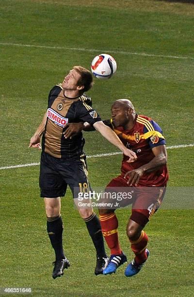Fernando Aristeguieta of the Philadelphia Union heads the ball away from Jamison Olave of Real Salt Lake in the first half at Rio Tinto Stadium on...