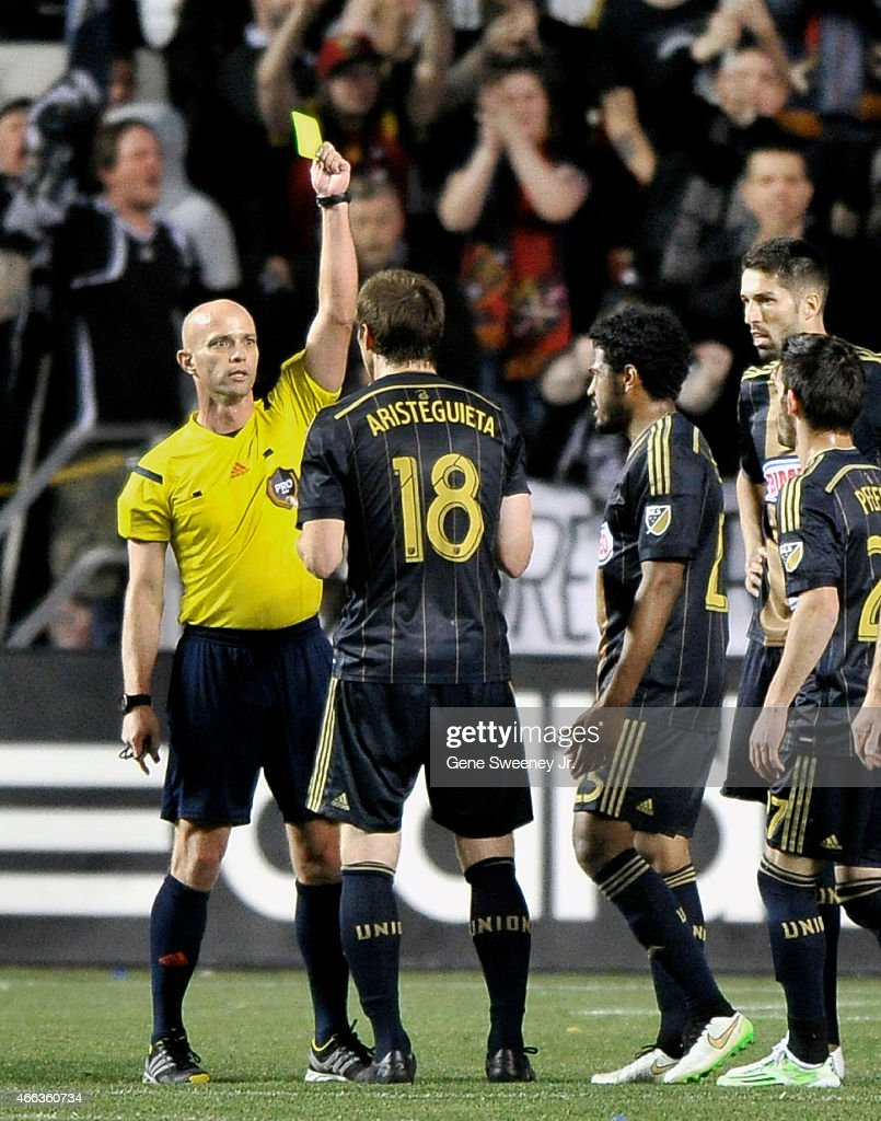 Fernando Aristeguieta of the Philadelphia Union receives one of the game's seven yellow cards given, during the second half of their 3-3 tie against the Real Salt Lake at Rio Tinto Stadium on March 14, 2015 in Sandy, Utah.