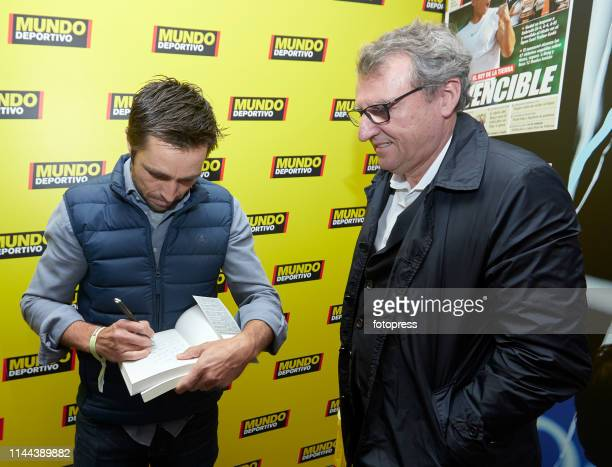 Fernando Belasteguin signs a book to Santi Nolla during the Barcelona Open Banc Sabadell 2019 at Real Club de Tennis de Barcelona on April 22 2019 in...