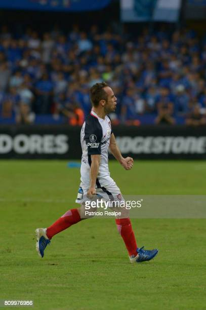 Fernando Belluschi of San Lorenzo celebrates after scoring the first goal of his team during a first leg match between Emelec and San Lorenzo as part...