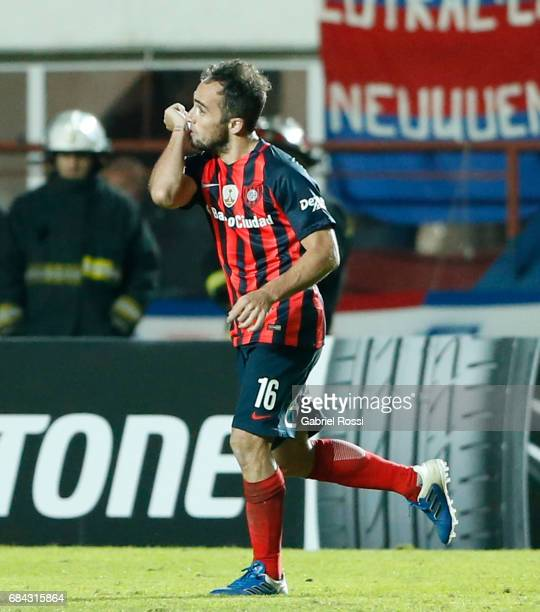 Fernando Belluschi of San Lorenzo celebrates after scoring the second goal of his team during a group stage match between San Lorenzo and Flamengo as...