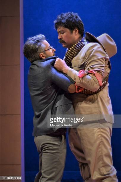 Fernando Bonilla and Moises Arizmendi act as part of the play 'Between Pancho Villa and a Naked Woman' at Rafael Solana Theatre on March 6 2020 in...