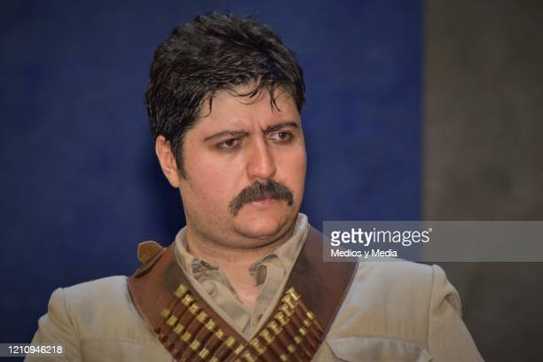 Fernando Bonilla listens to the Media questions as part of the play 'Between Pancho Villa and a Naked Woman' at Rafael Solana Theatre on March 6 2020...