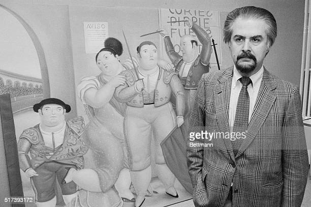 Fernando Botero Posing with His Painting