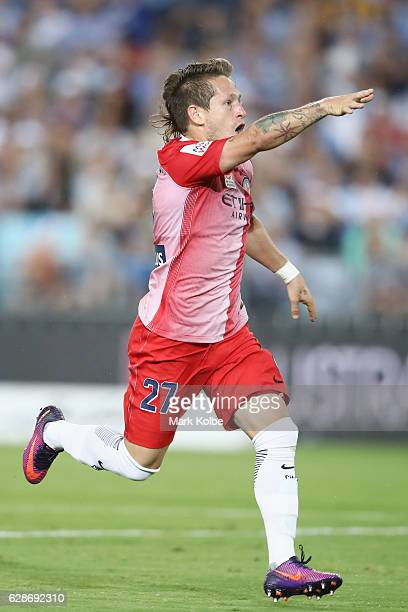 Fernando Brandan of Melbourne City celebrates scoring a goal during the round 10 ALeague match between Sydney FC and Melbourne City FC at ANZ Stadium...