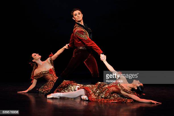 Fernando Bufala with Adela Ramirez and Crystal Costa in English National Ballet's production of Wayne Eagling's The Nutcracker at the London Coliseum