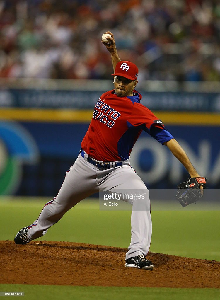 Fernando Cabrera #38 of Puerto Rico pitches against Venezuela during the first round of the World Baseball Classic at Hiram Bithorn Stadium on March 9, 2013 in San Juan, Puerto Rico.
