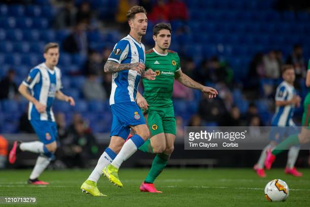 Fernando Calero of Espanyol defended by Pedro Neto of Wolverhampton Wanderers during the Espanyol V Wolverhampton Wanderers UEFA Europa League round...