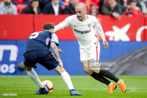 Fernando Calero of Real Valladolid Aleix Vidal of Sevilla FC during the La Liga Santander match between Sevilla v Real Valladolid at the Estadio...