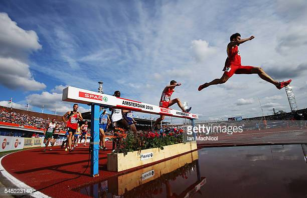 Fernando Carro of Spain competes in the Men's 3000m Steeplechase during Day One of The European Athletics Championships at Olympic Stadium on July 6...