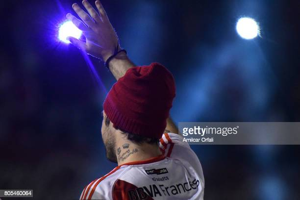 Fernando Cavenaghi greets fans during the Fernando Cavenaghi's farewell match at Monumental Stadium on July 01 2017 in Buenos Aires Argentina