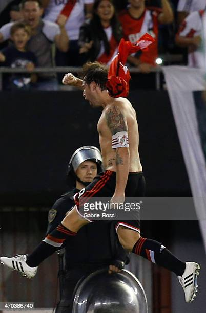 Fernando Cavenaghi of River Plate celebrates after scoring the third goal of his team during a match between River Plate and Banfield as part of 10th...