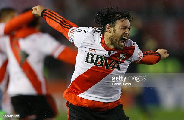 Fernando Cavenaghi of River Plate celebrates after winning a second leg final match between River Plate and Tigres UANL as part of Copa Bridgestone...