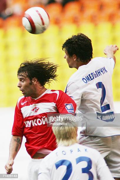 Fernando Cavenaghi of Spartak Moscow competes against Martin Horak and Sergei Omelianchuk of Shinnik Yaroslavl during the Football Russian League...