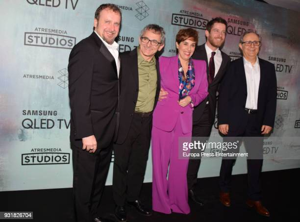 Fernando Cayo Inaki Miramon Anabel Alonso Manu Baqueiro and Jose Sayagues attend the Atresmedia Studios photocall at the Barcelo Theater on March 13...