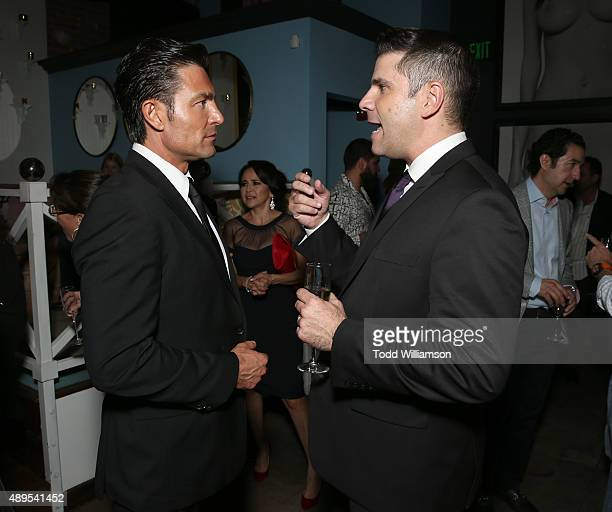 Fernando Colunga and Director Joe Menedez attend the after party for Pantelion Films' Ladrones Los Angeles Premiere at the Warwick on September 21...
