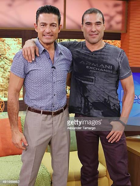 Fernando Colunga and Eduardo Yanez visit the set of Despierta America to promote his film Ladrones at Univision Studios on October 9 2015 in Miami...