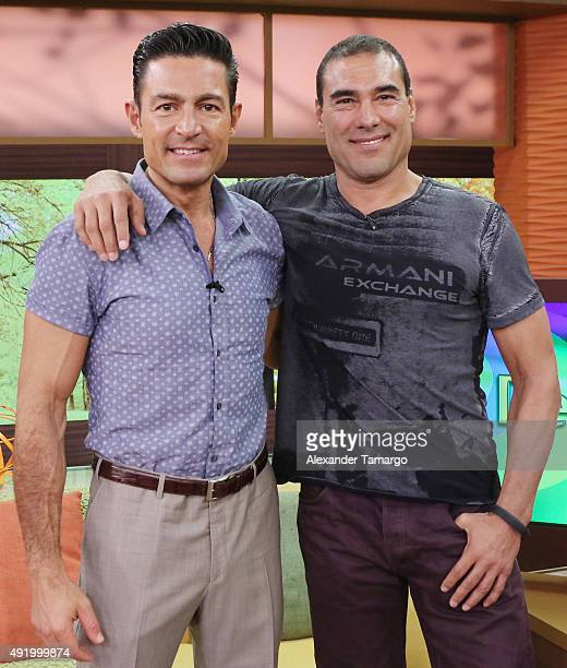 Fernando Colunga and Eduardo Yanez visit the set of Despierta America to promote his film Ladrones at Univision Studios on October 9 2015 in Miami...