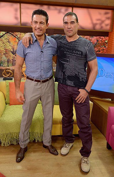 Fernando Colunga and Eduardo Yanez visit the set of 'Despierta America' to promote his film 'Ladrones' at Univision Studios on October 9, 2015 in...
