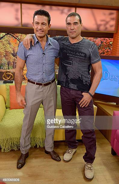 Fernando Colunga and Eduardo Yanez visit the set of 'Despierta America' to promote his film 'Ladrones' at Univision Studios on October 9 2015 in...