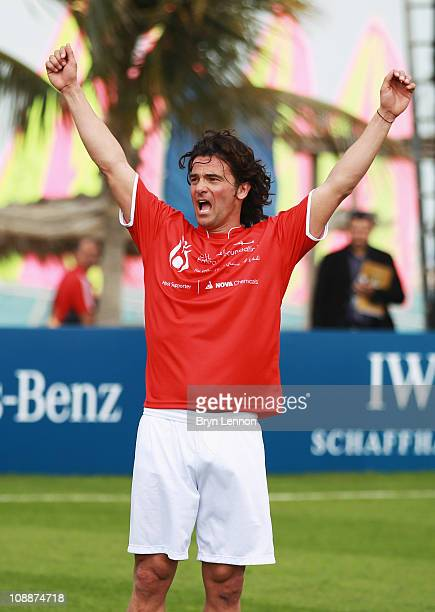 Fernando Couto celebrates after scoring the winning goal during the Laureus Football Challenge presented by IWC Schaffhausen as part of the 2011...