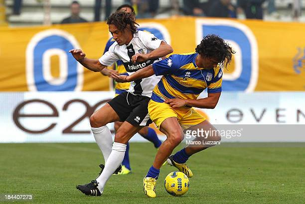 Fernando Couto of Stelle Gialloblu competes for the ball with Diego Fuser of Stelle Crociate during the 100 Years Anniversary match between Stelle...