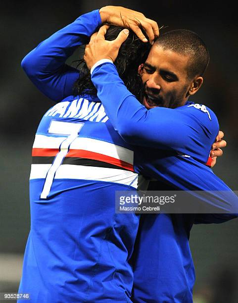 Fernando Damian Tissone and Daniele Mannini of UC Sampdoria celebrate the opening goal scored by Daniele Mannini during the TIM Cup match between UC...