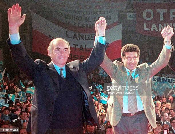 Fernando De La Rua presidential candidate for the 'Alianza' in Argentina on October 18 1999 Fernando de la Rua Carlos 'Chacho'Alvarez Presidential...